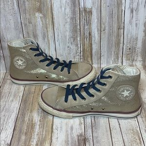 Converse Girl's Size 3 Gold Glitter Suede High Top